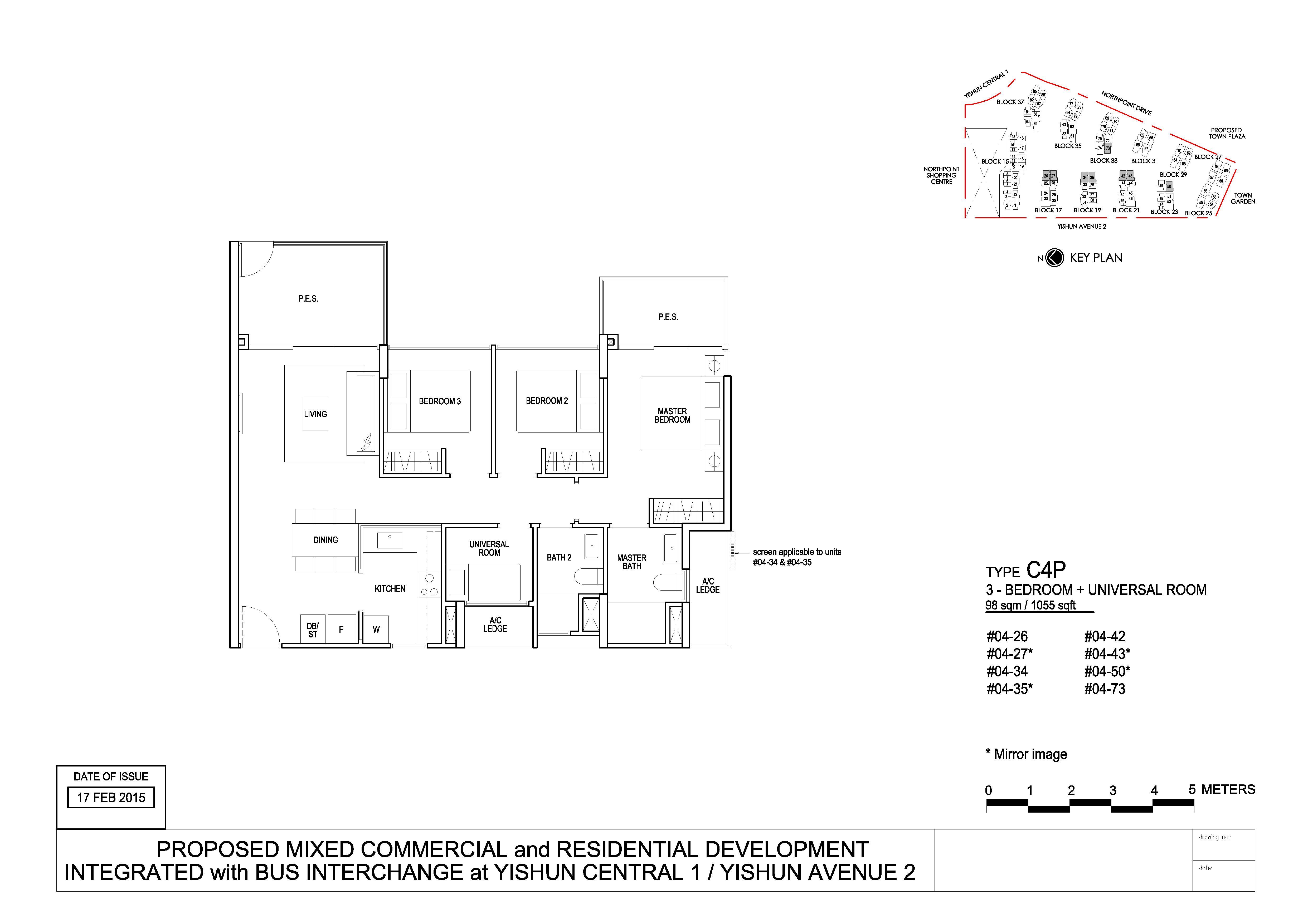 North Park Residences 3 Bedroom + Universal Type C4P Floor Plans